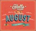 Hello august typographic design. Royalty Free Stock Photo