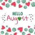 Hello august watermelon card