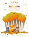 Hello autumn background with woodland animals