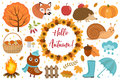 Hello Autumn icons set flat or cartoon style.Collection design elements with leaves, trees, mushrooms, pumpkin, wild
