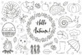 Hello Autumn icons set sketch, hand drawing, doodle style.Collection design elements with leaves, trees, mushrooms