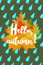 Hello autumn poster with drops of rain and fallen leaves on green background.