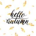 Hello autumn text on orange leaves background