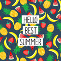 Hello Best Summer phrase on seamless pattern with yellow bananas, pineapples and juicy strawberries.