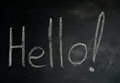 Hello on blackboard word written with chalk Royalty Free Stock Photos