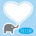 Hello card the elephant say for everyone Royalty Free Stock Image