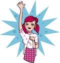 Hello cartoon girl emblem tag Stock Photos