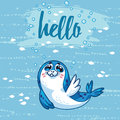 Hello. Cute card with cartoon baby Seal. Vector illustration