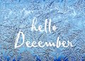 Hello December.Frosty natural pattern on winter window.Frost patterns on glass. Royalty Free Stock Photo