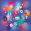 Hello December greeting card Royalty Free Stock Photo