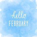 Hello February greeting on abstract blue watercolor background