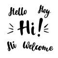 Hello, hey, hi, welcome: vector isolated illustration. Brush calligraphy, hand lettering. Inspirational typography