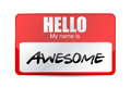 Hello i am awesome tag illustration design over a white background Royalty Free Stock Photo
