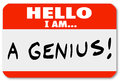 Hello i am a genius nametag expert brilliant thinker red with the words that might be worn by or very smart person or someone who Royalty Free Stock Photo