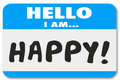 Hello I Am Happy Words Name Tag Satisfied Customer Royalty Free Stock Photo