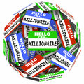 Hello i m a millionaire nametag sticker sphere earn money rich w words on stickers in ball or to illustrate earning wealth or Stock Image