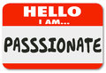 Hello I Am Passionate Words Nametag Sticker
