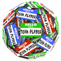 Hello I Am a Team Player Name Tag Stickers Sphere Working Togeth Royalty Free Stock Photo