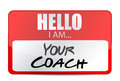 Hello i am your coach tag illustration design over white Royalty Free Stock Image