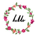 Hello ink handwritten lettering illustration with floral circle frame. Part one. Royalty Free Stock Photo