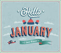Hello january typographic design vector illustration Stock Photo