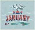 Hello january typographic design. Royalty Free Stock Photo