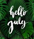 Hello July brush lettering.