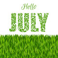 Hello JULY. Decorative Font made in swirls and floral elements
