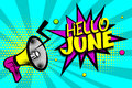 Hello june comic text pop art colored bubble Royalty Free Stock Photo
