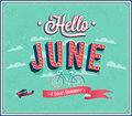 Hello june typographic design vector illustration Stock Images