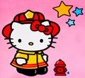 Hello kitty zagreb croatia december children cartoon character printed on box product shot Royalty Free Stock Image