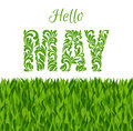 Hello MAY. Decorative Font made in swirls and floral elements is