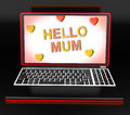 Hello mom on laptop showing digital greetings card shows Stock Photo