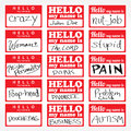 Hello my name is nametags an assortment of temporary sticker lapel badges that are editable in vector format Stock Photography