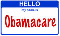 Hello my name obamacare is blue sticker Stock Image