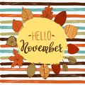 Hello november autumn flyer template with lettering. Bright fall leaves. Poster, card, label, banner design. Vector
