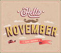 Hello november typographic design vector illustration Royalty Free Stock Photo