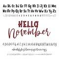 Hello November word. Hand drawn typeface set isolated on white. Vector logo font. Typography alphabet for your designs