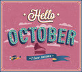 Hello october typographic design vector illustration Royalty Free Stock Photos