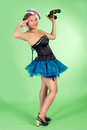 Hello sailor pin up girl saluting in costume Royalty Free Stock Photo