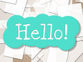 Hello sign shows how are you and greetings meaning hi ya Stock Photo