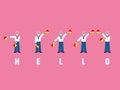 Hello spelled with flag semaphore alphabet