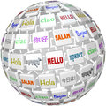 Hello sphere word tiles global languages cultures a of with the in different representing peace among the of the planet Stock Photography