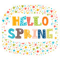 Hello spring card with decorative design elements. Cute greeting