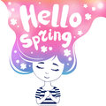 Hello spring, dreaming girl, colored