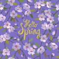 Hello Spring floral background for spring season with blooming apple tree branches. Promotion offer with floral decoration.