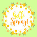 Hello Spring floral frame for text, isolated on white background. Spring template for your design, cards, invitations