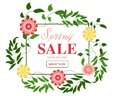 Hello spring! Floral wreath on white background. Bright colorful spring flowers. Vector illustration