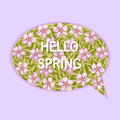 Hello spring greeting card with flowers