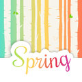 Hello spring lettering with flat flowers and leafs. Spring birch forest background.